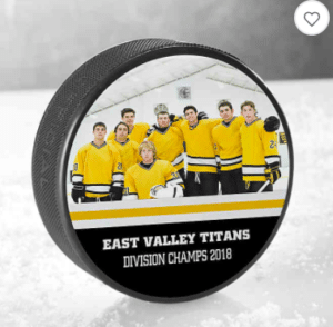 personalized hockey puck. Father's Day gift ideas